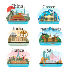 set of countries with attractions vector image