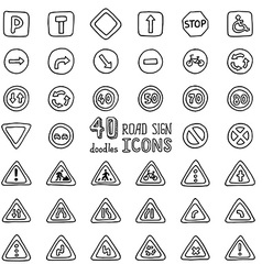 Set of doodles road sign icons vector