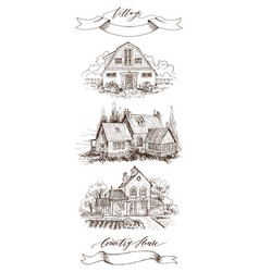 Set of rural landscape with old farmhouse vector