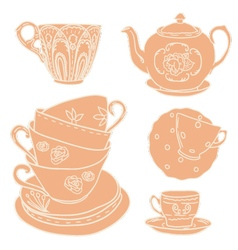 set with teapots and teacups vector image