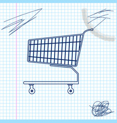 shopping cart line sketch icon isolated on white vector image