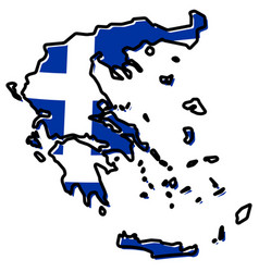Simplified map of greece outline with slightly vector