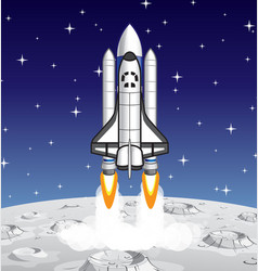 Space shuttle launching from lunar surface vector