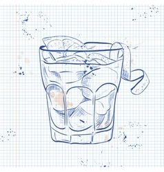 The Americano Cocktail on a notebook page vector image