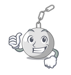 Thumbs up wrecking ball hanging from chain cartoon vector