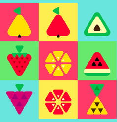 triangle fruits icons set color background vector image