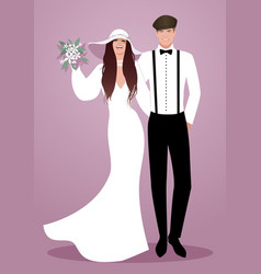 young couple of newlyweds wearing wedding clothes vector image