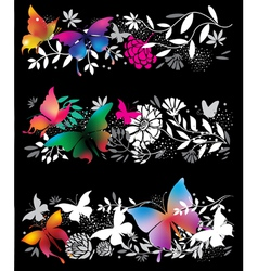 banners with butterflies and flowers vector image