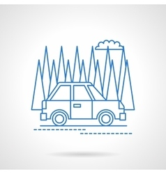 Car in forest travel flat line icon vector image vector image