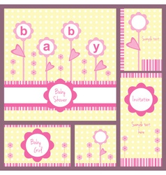 baby card set flowers girl vector image vector image