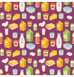 Dairy seamless pattern on blue background vector image