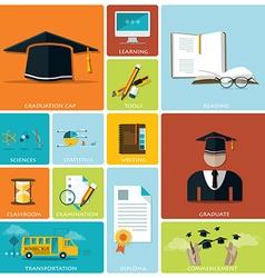 Education And Graduation Flat Icon Set vector image