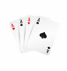 four aces winning poker hand concept playing vector image vector image