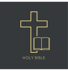 Open Bible with a crucifix vector image