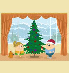 children decorating christmas fir tree vector image