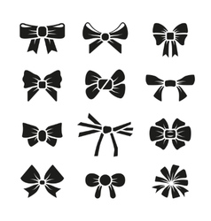 Decorative gift bows black icons set vector image vector image