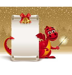 dragon with a sparkler vector image vector image
