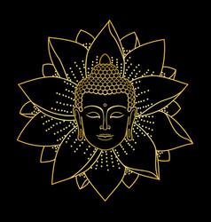 gold buddha head and lotus vector image vector image