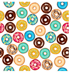 seamless different pattern with glazed donuts vector image vector image