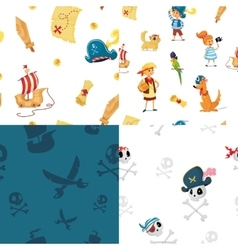 set of seamless patterns for pirate party vector image