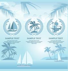 set of travel symbols in blue vector image vector image