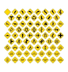 Big set of yellow road signs on white vector