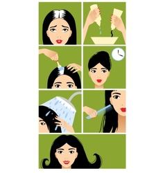 Icons set in flat design style with hair treatment vector image vector image