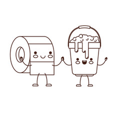 kawaii cartoon toilet paper roll and bucket with vector image