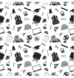 seamless pattern with school black icons vector image