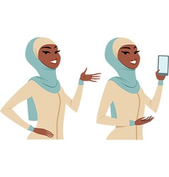 Woman posing making gestures vector image vector image