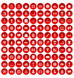 100 basketball icons set red vector