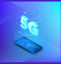 5g fast mobile networks mobile phone with global vector