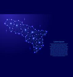 Abkhazia map of polygonal mosaic lines network vector