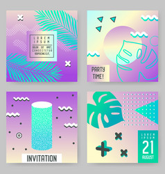 abstract tropical poster templates set with palms vector image