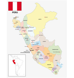 administrative divisions map peru with flag vector image