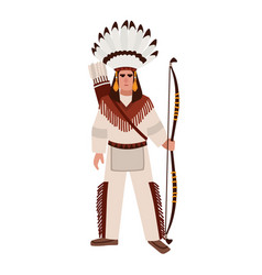 american indian man or warrior wearing war bonnet vector image
