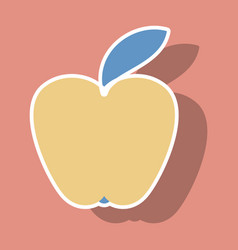 apple icon in trendy sticker style isolated on vector image