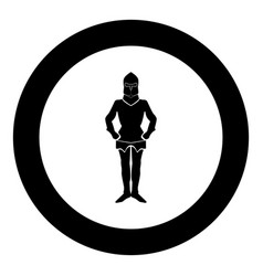 armour black icon in circle isolated vector image