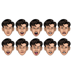 asian man in various face expression vector image