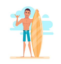 attractive young surfer is holding surfboard vector image