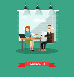 Bank manager concept in flat vector