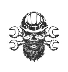 Bearded and mustached builder skull vector