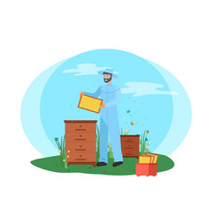 beekeeper with bess colony and box apiarist vector image