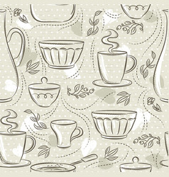 Beige seamless patterns with different tableware vector