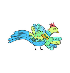 bird doodle ethnic hand drawing birdie isolated vector image