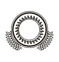 Black contour circle with decorative olive branch vector