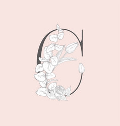 Blooming floral elegant c monogram and logo vector
