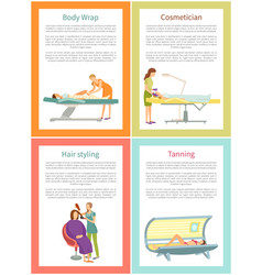 Body wrap and cosmetician procedure posters vector