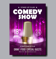 bright banner of evening comedy live show vector image