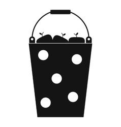 Bucket of fruit black simple icon vector